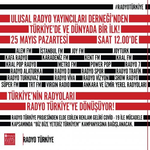 #RADYOTÜRKİYE, HER YERDE OLACAK. Radyolar tek sesle Türkiye için bir arada.